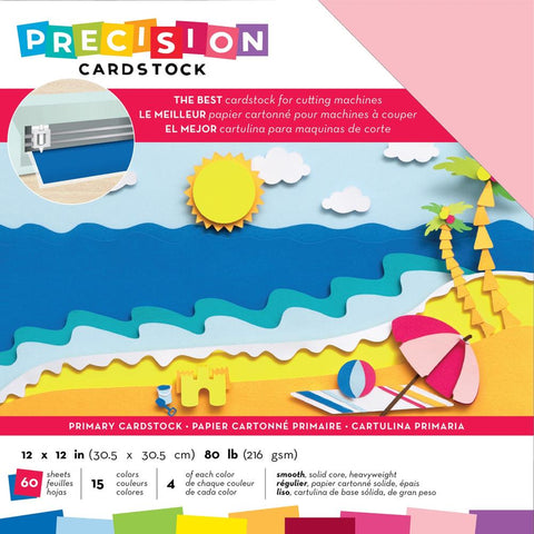 "593877 American Crafts Precision Cardstock Pack 80lb 12""X12"" 60/Pkg-Primary/Smooth"