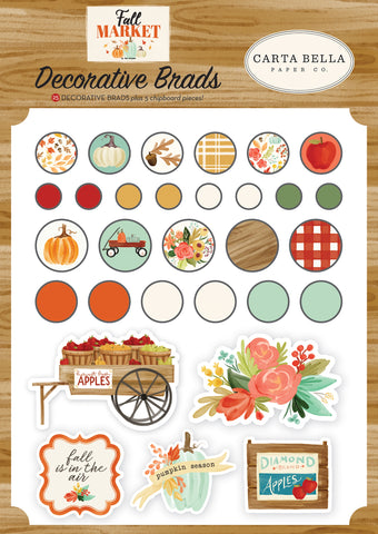 596440 Carta Bella Decorative Brads Fall Market, 25/Pkg + 5 Chipboard