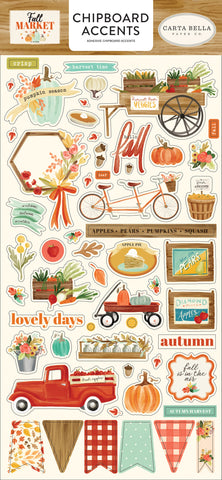"596441 Fall Market Chipboard 6""X13"" Accents"