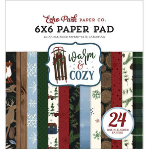 "602002 Echo Park Double-Sided Paper Pad 6""X6"" 24/Pkg Warm & Cozy, 12 Designs/2 Each"