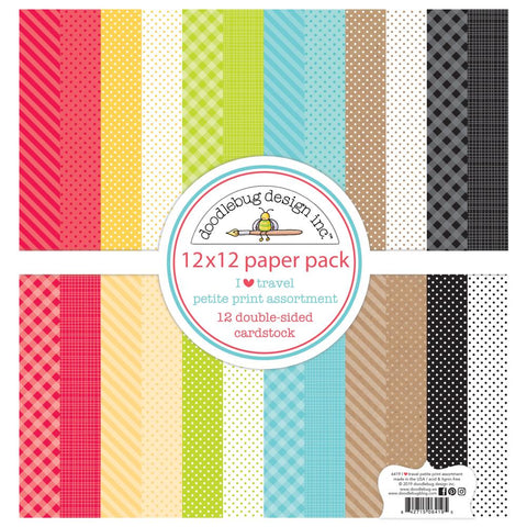 "602278 Doodlebug Petite Prints Double-Sided Cardstock 12""X12"" 12/Pk I Heart Travel, 12 Designs/1 Each"