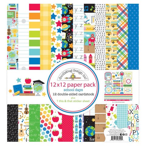 "602316 Doodlebug Double-Sided Paper Pack 12""X12"" 12/Pkg School Days"