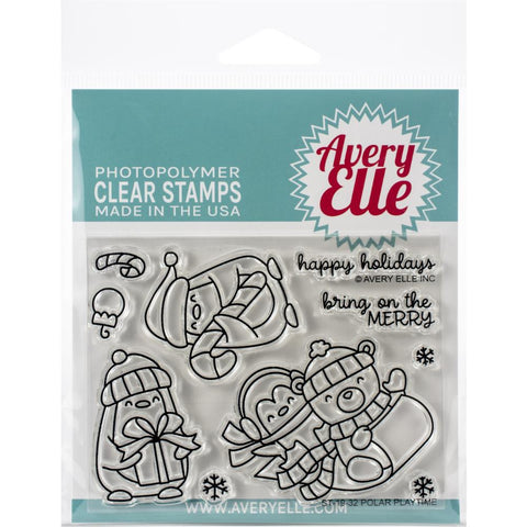 "604470 Avery Elle Clear Stamp Set 4""X3"" Polar Playtime"