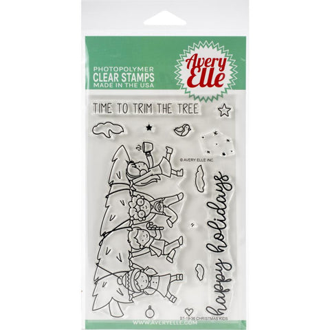 "604474 Avery Elle Clear Stamp Set 4""X6"" Christmas Kids"