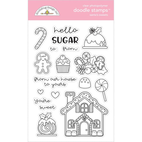 Doodlebug Clear Doodle Stamps Santa's Sweets, Christmas Magic