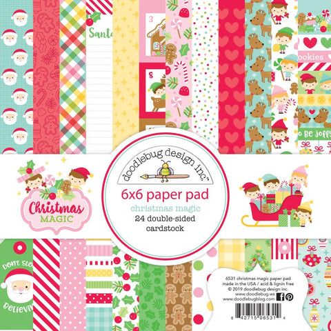 "Doodlebug Double-Sided Paper Pad 6""X6"" 24/Pkg Christmas Magic, 12 Designs/2 Each"