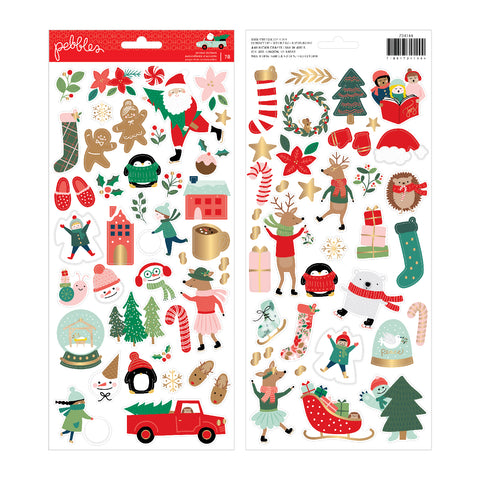 "734144 Merry Little Christmas Cardstock Stickers 6""X12"" 78/Pkg-Icons W/Gold Foil Accents"