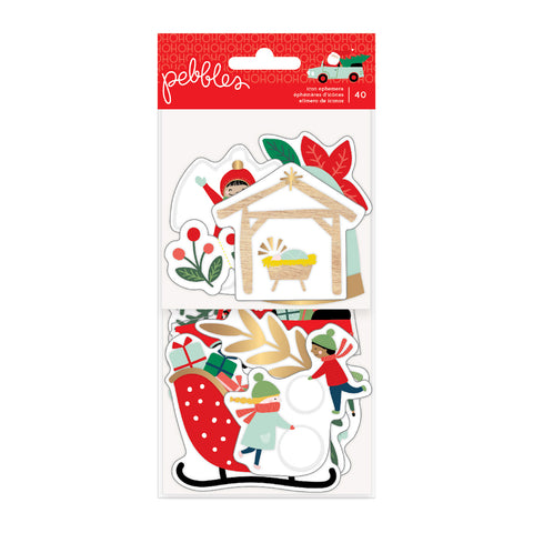 734146 Merry Little Christmas Ephemera Cardstock Die-Cuts 40/Pkg-Icons W/Gold Foil Accents