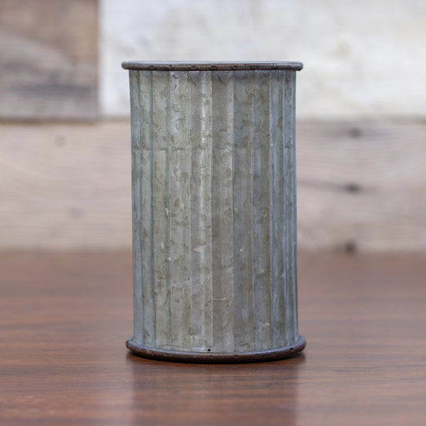 Corrugated Tin Can Vase