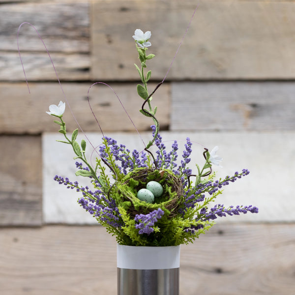 Posies with bird nest floral stem