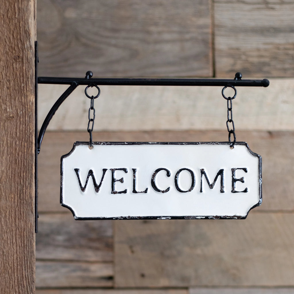 Double-sided hanging Welcome sign