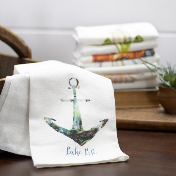 "Tea Towel with Anchor ""Lake Life"""