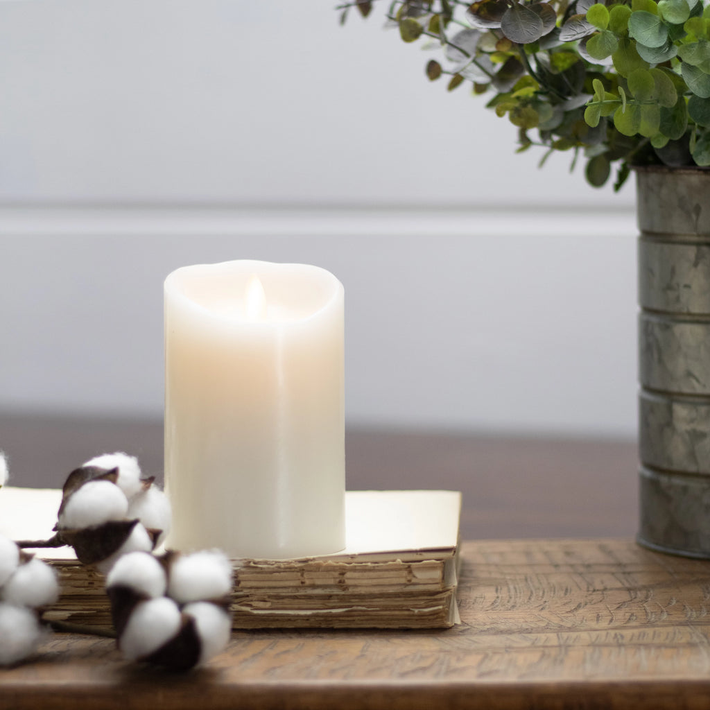 "Push Flame Pillar Candle, Ivory (avail in 4"" and 6"")"