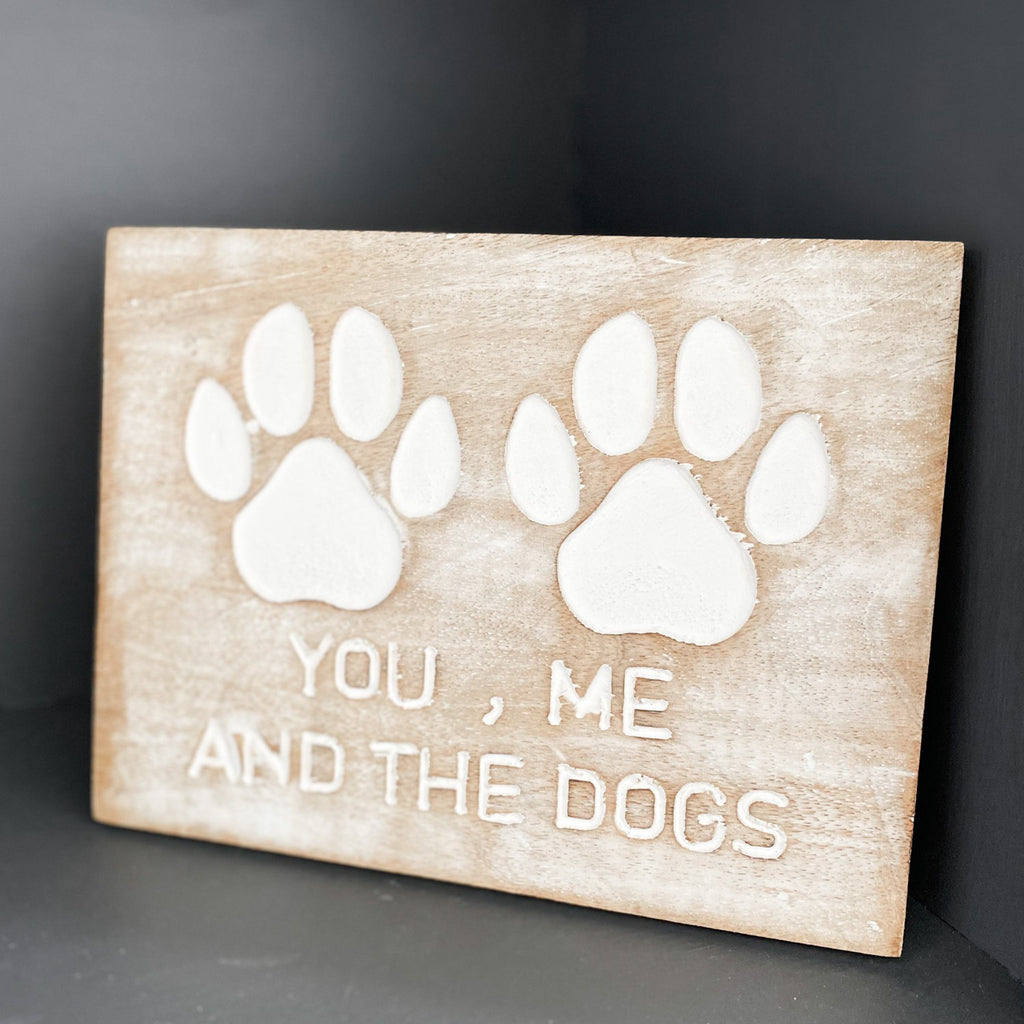 Dog paw carved wood plaque
