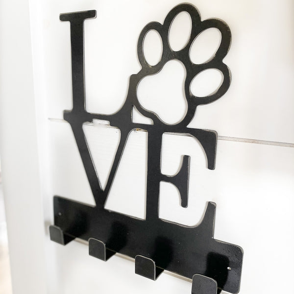 """Love"" dog leash holder / hooks"