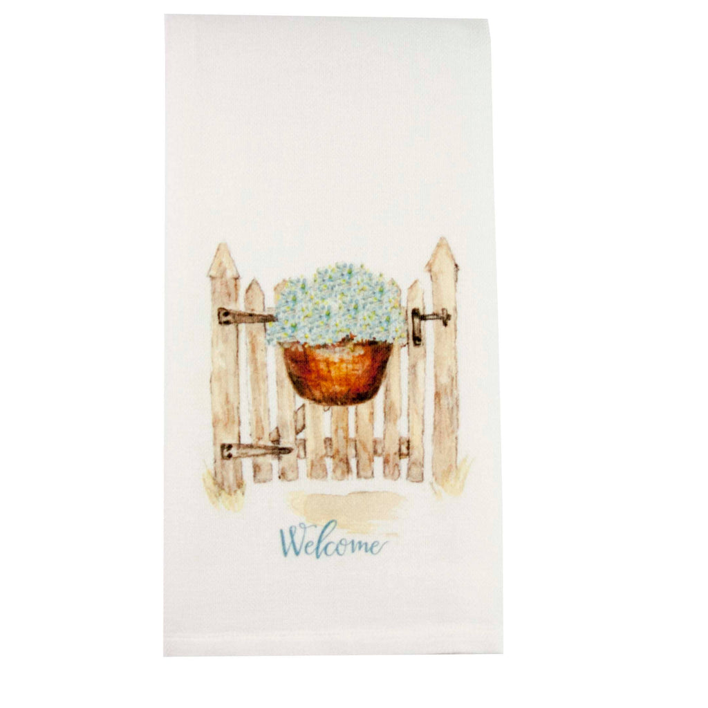 """Welcome"" Gate with basket tea towel"