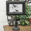 Black metal pedestal picture frame, 4 x 6