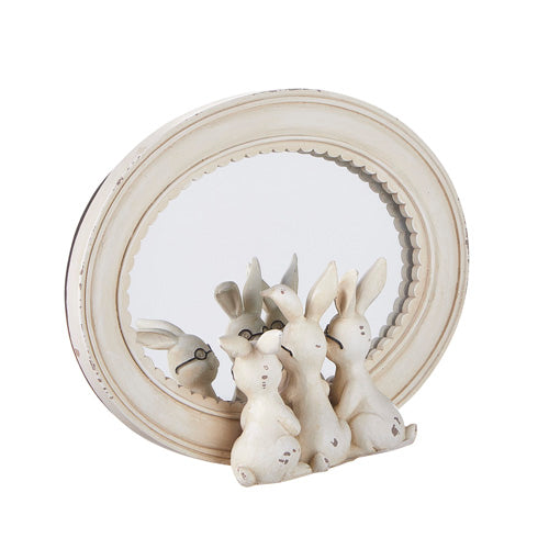 Rabbits with Glasses in an Oval Mirror, 8.25""
