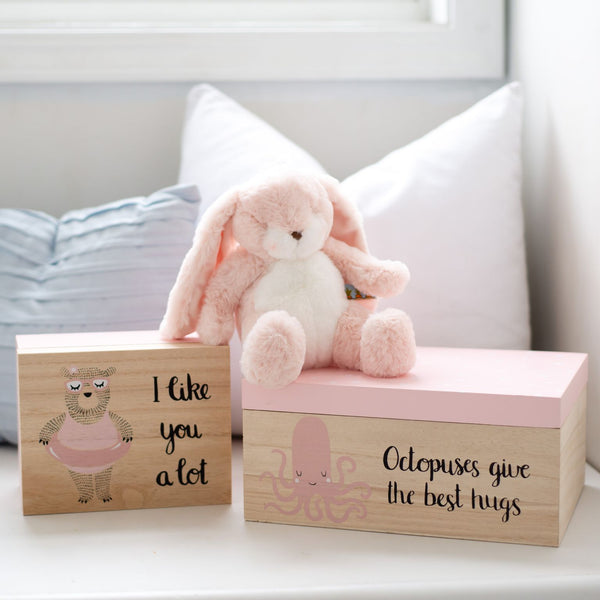 Set of two Wooden Storage Box, available in pink or blue