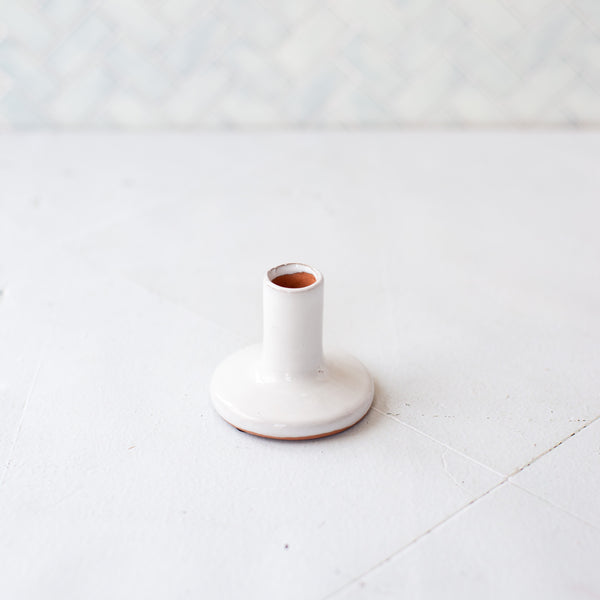 Ceramic White Taper Holder
