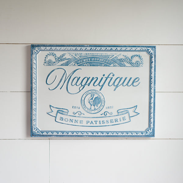 """Magnifique"" Embossed Metal Wall Art, 20.25"""