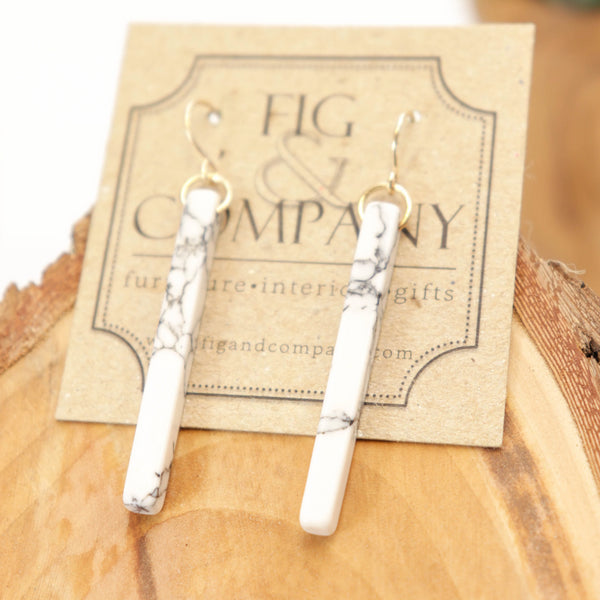 Marble bar drop earrings