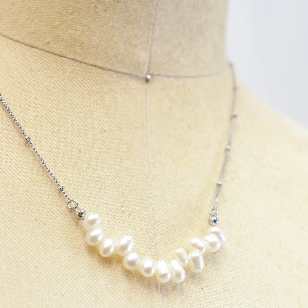 Pearls on silver chain necklace