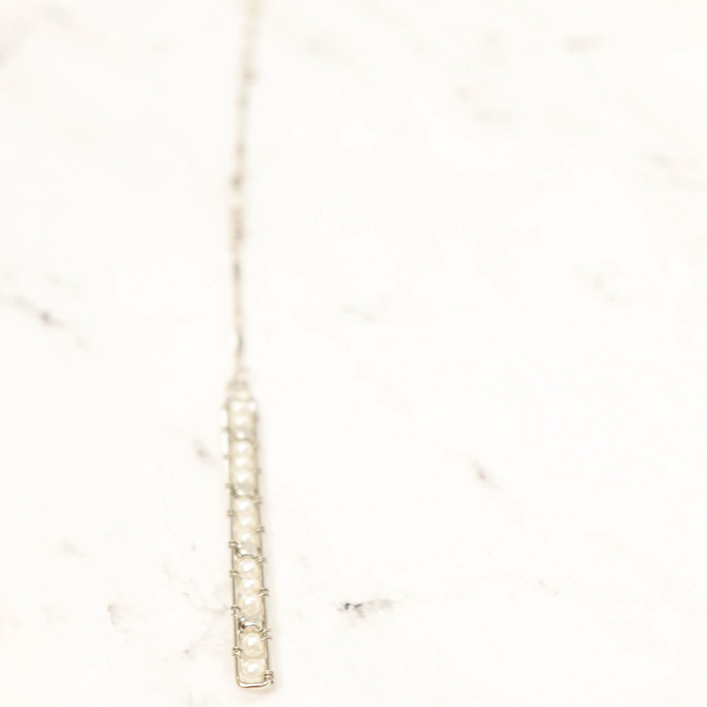 Pearl bar drop long necklace