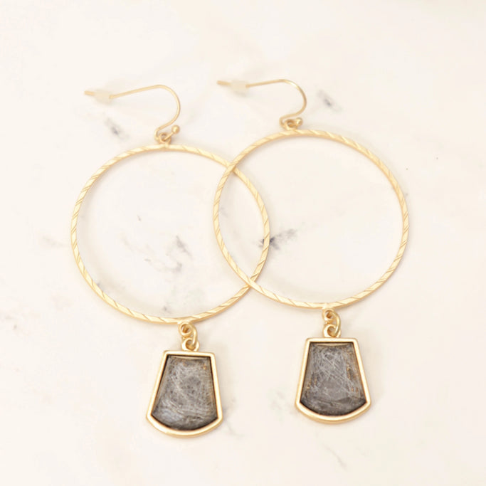 Gray drop gold hoop earrings