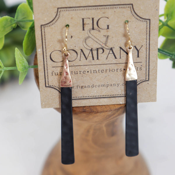 Long black bar drop earrings