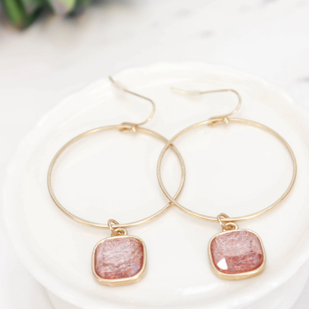 Pink coral drop, gold hoop earrings
