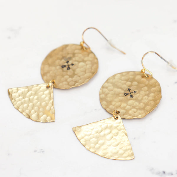Hammered Brass Drop Arrow Earrings