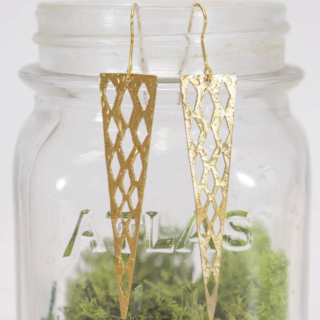 Gold Triangular Earrings