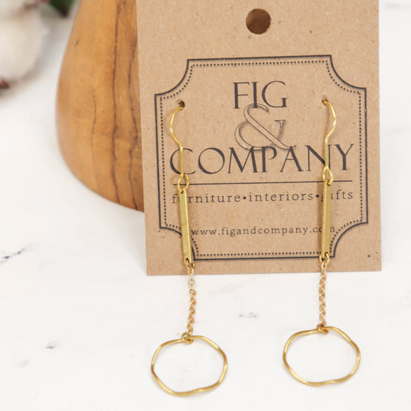 Open circle drop muted gold earrings