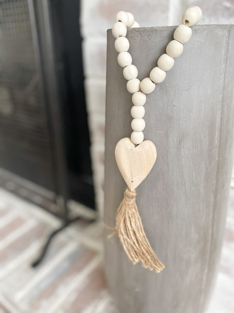 Beaded tassel with wooden heart charm, available in two sizes!