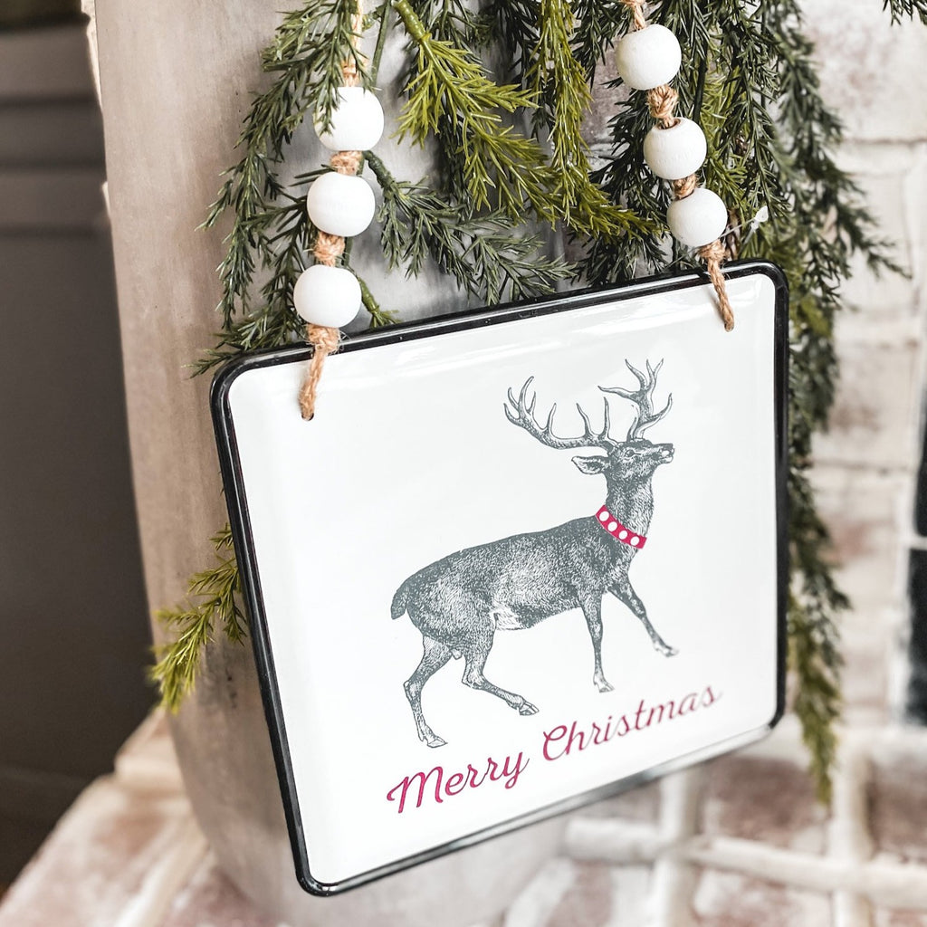 Deer wall hanging sign, 8""