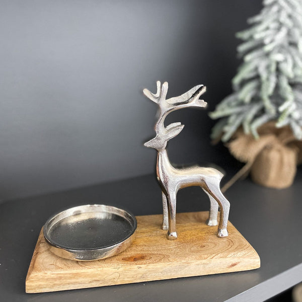 Deer candle holder, 7.75""