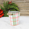 Holiday plaid pattern metal bucket