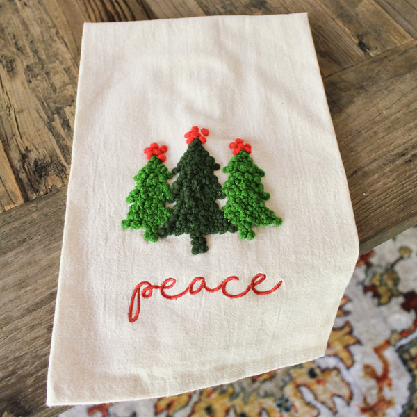 """Peace"" embroidered towel"