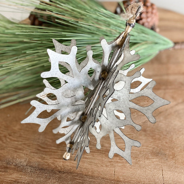 Tin snowflake ornament, assorted styles