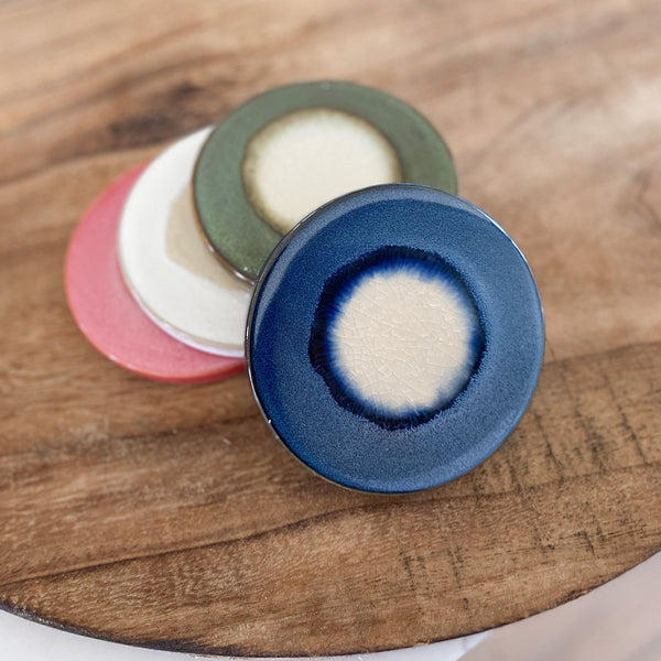 Multi-colored glazed coasters