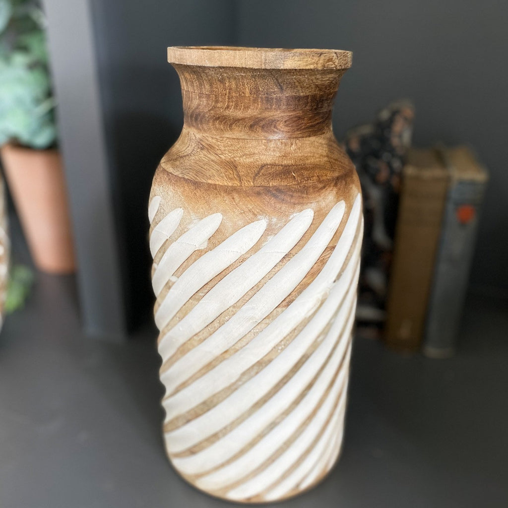 Carved wood vase, 12""