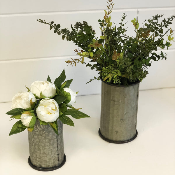 Corrugated Tin Can Vase, available in two sizes