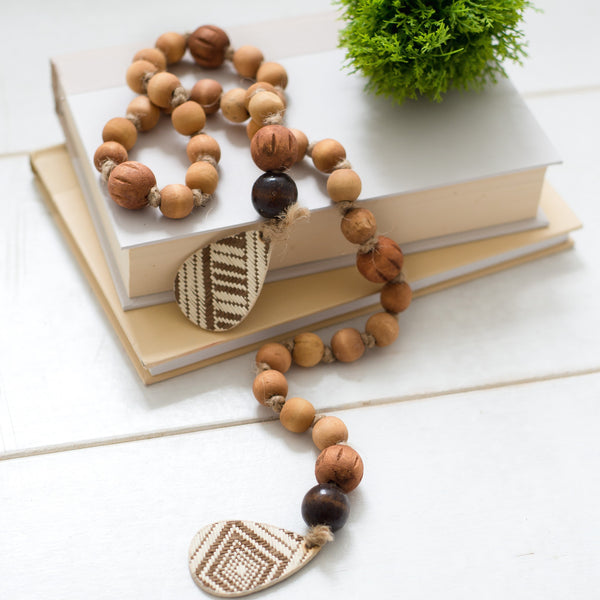 Brown beaded tassel strand, available in two colors!