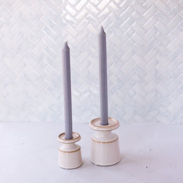 Set of 2 Gray Danish Dripless Tapered Candles, Available in two sizes