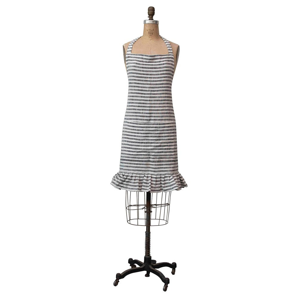 Striped apron with ruffle