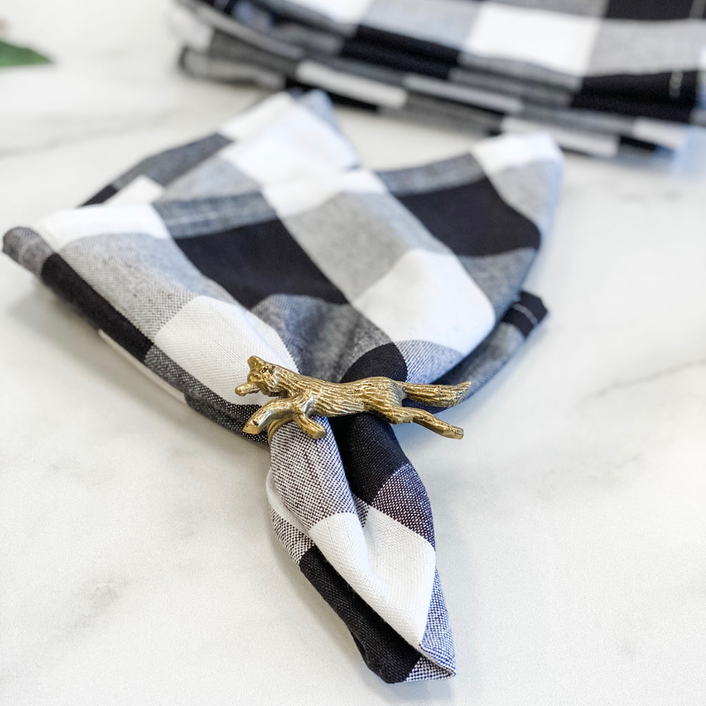 Black and White Buffalo Check Napkin, set of six
