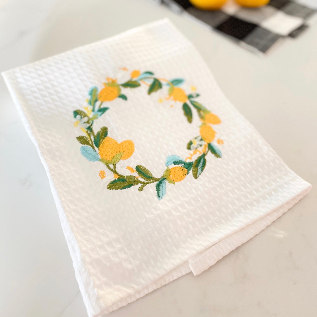 Lemon wreath towel