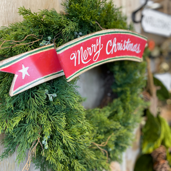 """Merry Christmas"" hanging banner, 19"""