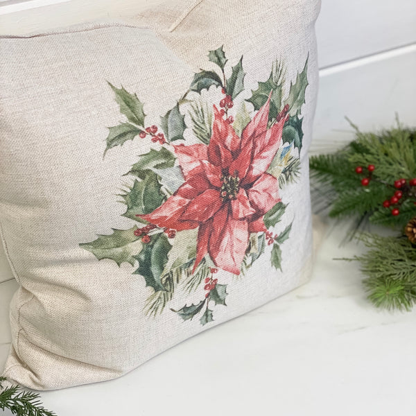 Christmas poinsettia bouquet cottage pillow, 20""